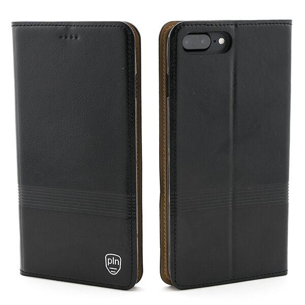 Apple iPhone 7 Plus / 8 Plus Nahkainen PLN Stripe Lompakko Suojakotelo, Musta