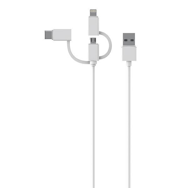 Essentials 3in1 Micro-USB, USB-C & Lightning, Valkoinen