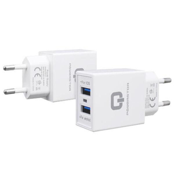 Powerstar 2in1 Smart Charger Micro-USB Laturi, Valkoinen