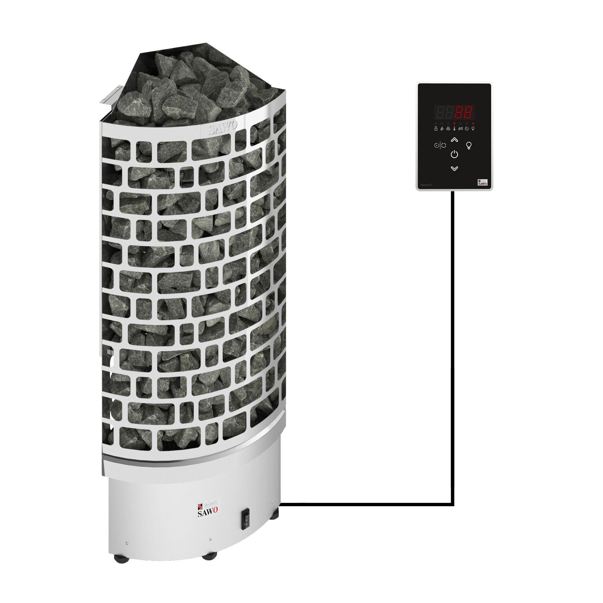 Sawo Aries Corner Ni2 9 kW sähkökiuas erillisellä ohjauskeskuksella