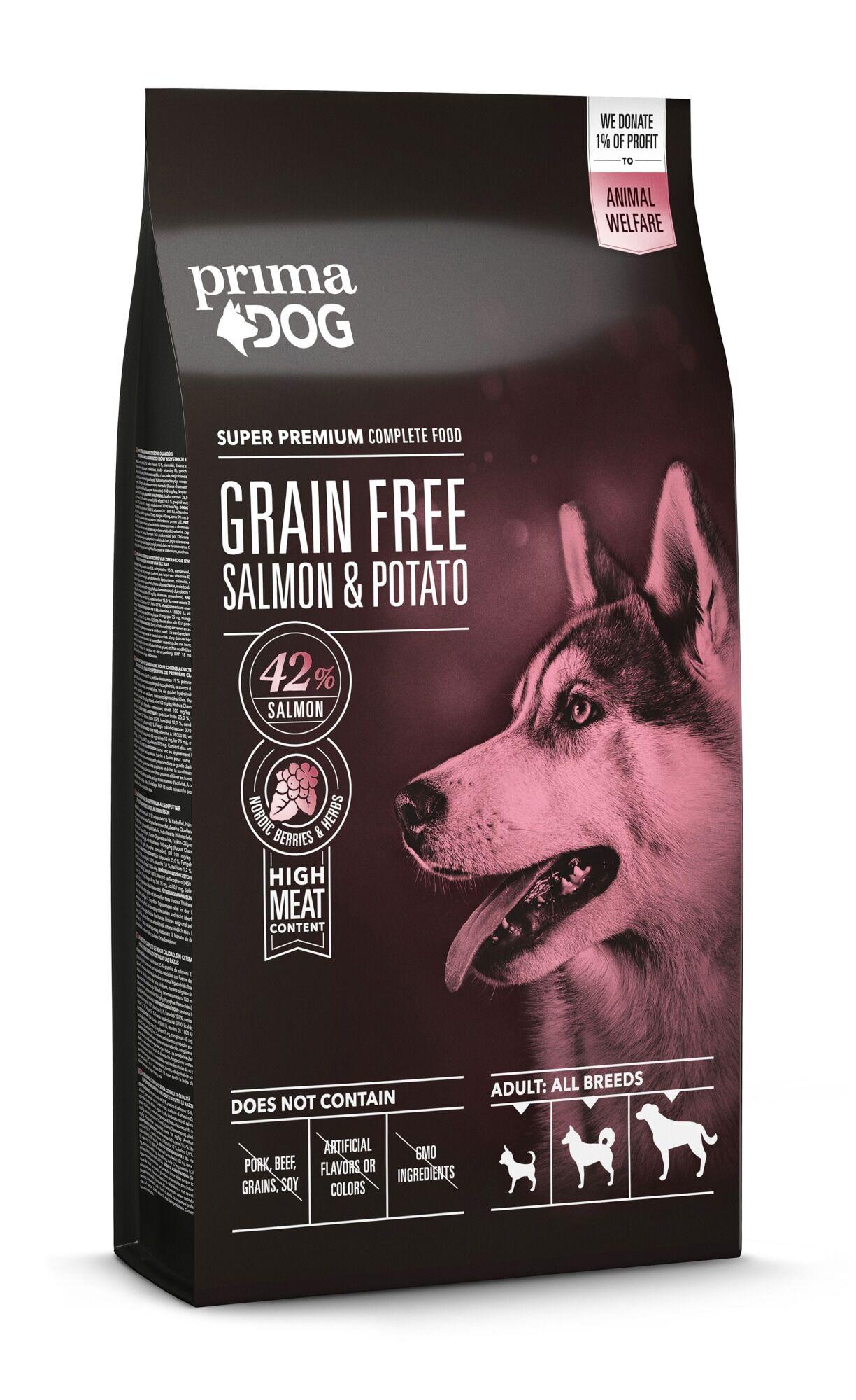 PRIMA DOG PrimaDog Adult All Breeds 10 kg lohi-peruna täysravinto