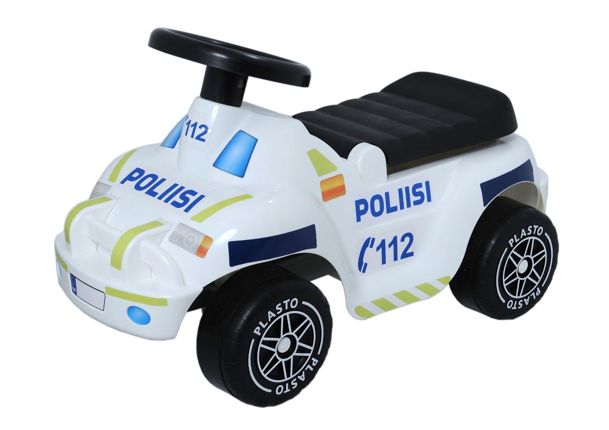 Plasto Offroad Poliisi potkuauto hiljaisilla pyörillä