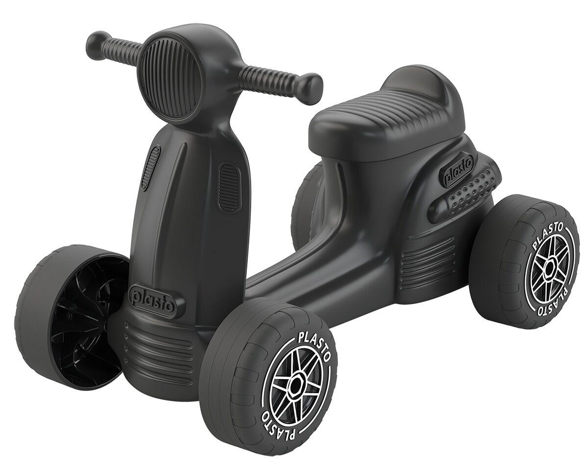 Plasto musta skootteri hiljaisilla pyörillä