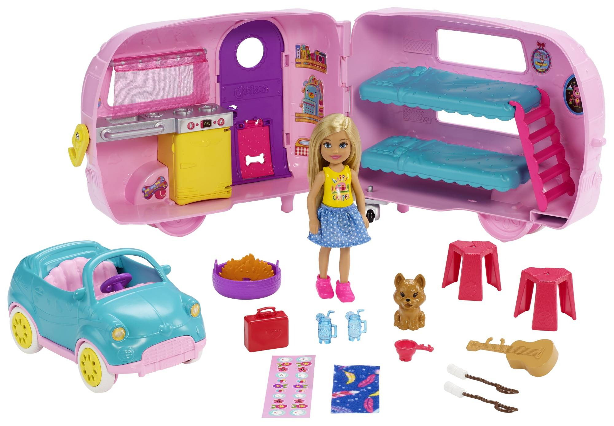 Barbie Chelsea Camper nukke, auto ja asuntovaunu