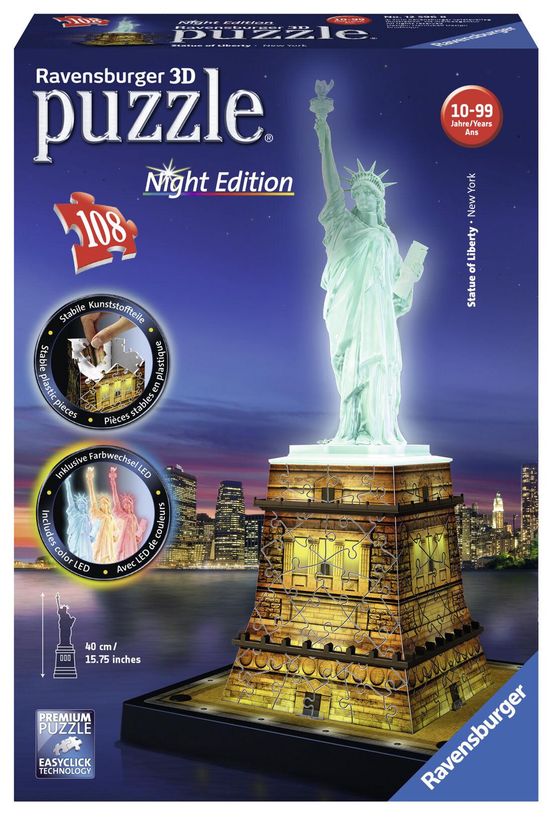 Ravensburger 3D Statue of Liberty Night Edition 108 palaa palapeli