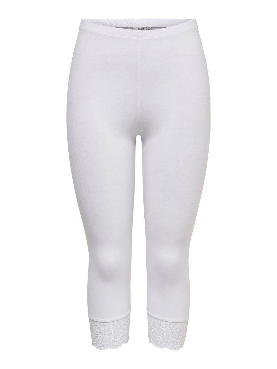 Image of ONLY 3/4 Long Lace Detail Leggings Women White