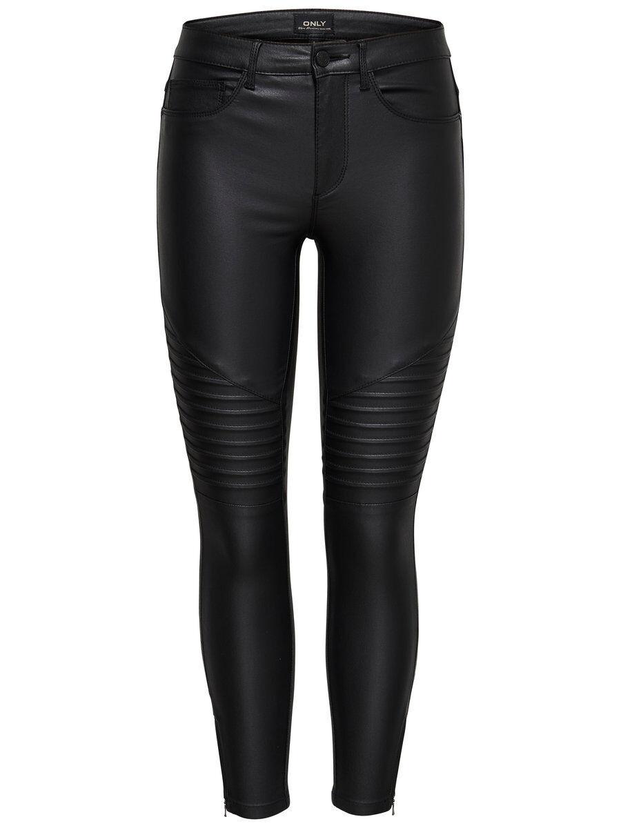 Image of ONLY Onlroyal Rg Sk An Zip Biker Rock Skinny Fit Jeans Women Black Black