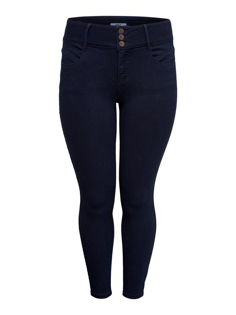 Image of ONLY Curvy Anna Hw Ankle Skinny Fit Jeans Women Blue Dark Blue Denim