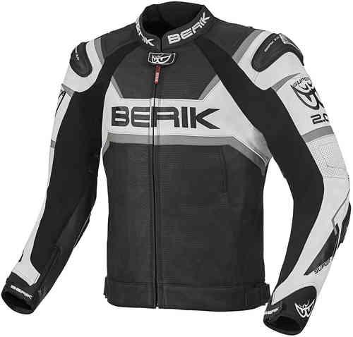 Berik Tek-X Moottoripyörä nahkatakki Musta/valkoinen/harmaa