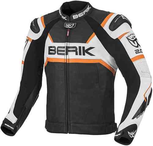 Berik Tek-X Moottoripyörä nahkatakki Musta/valkoinen/oranssi