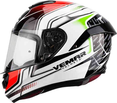 Vemar Hurricane Racing Kypärä Valkoinen/vihreä/punainen