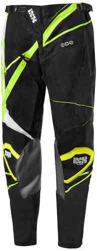 IXS Hurricane Motocross housut Musta/valkoinen/kirkkaankeltainen