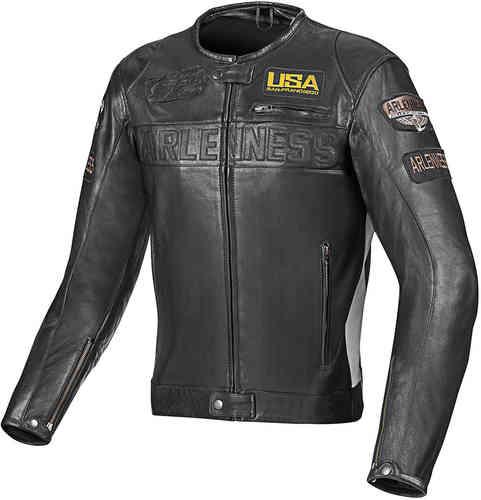 Arlen Ness Detroit Moottoripyörä nahkatakki Musta