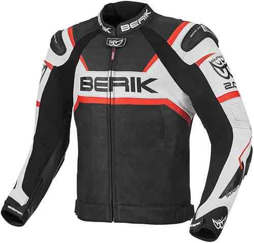 Berik Tek-X Moottoripyörä nahkatakki Musta/valkoinen/punainen