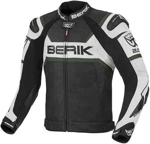 Berik Tek-X Moottoripyörä nahkatakki Musta/valkoinen/vihreä