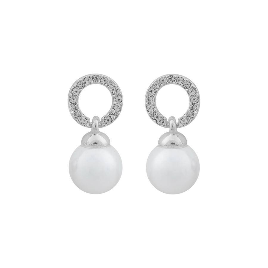 Snö of Sweden Daria Pearl Pendant Earring - Silver/White