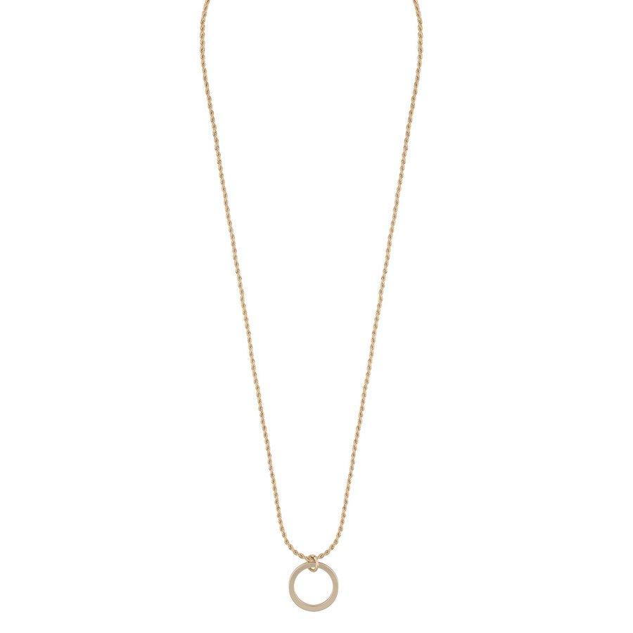 Snö Of Sweden Madeleine Round Pendant Necklace 42 cm - Plain Gold