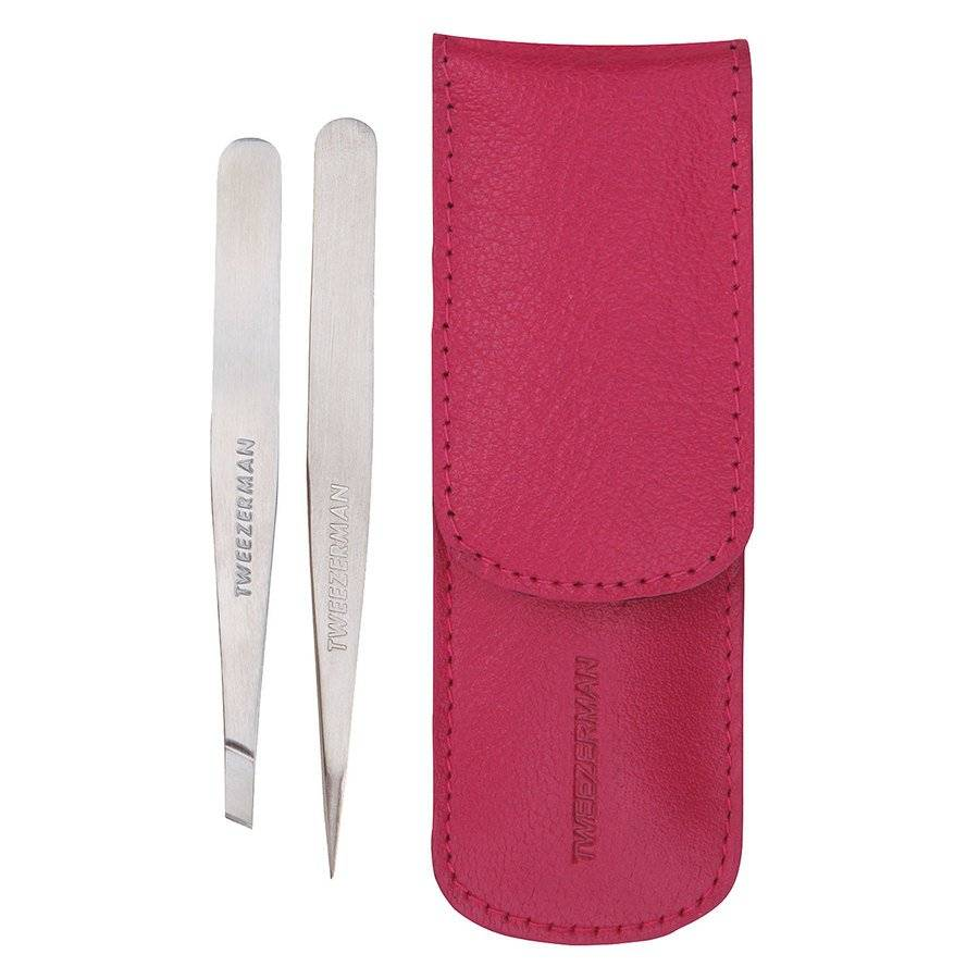 Tweezerman Petite Tweeze Set – Pink Leather Case