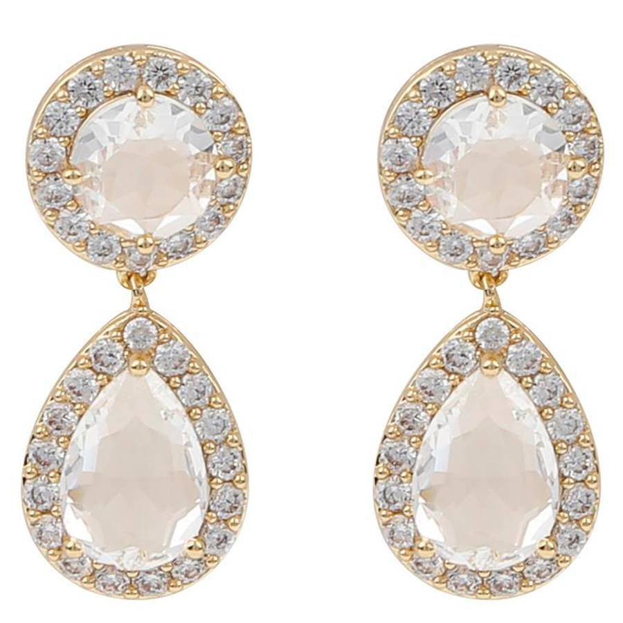 Snö Of Sweden Three Pendant Earring – Gold/Clear