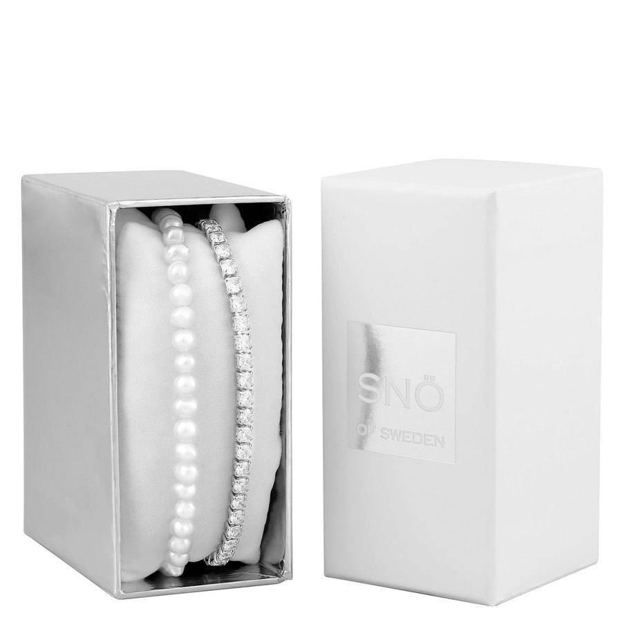 SNÖ of Sweden Crystal Pearl Bracelet Set 1 - Silver/White