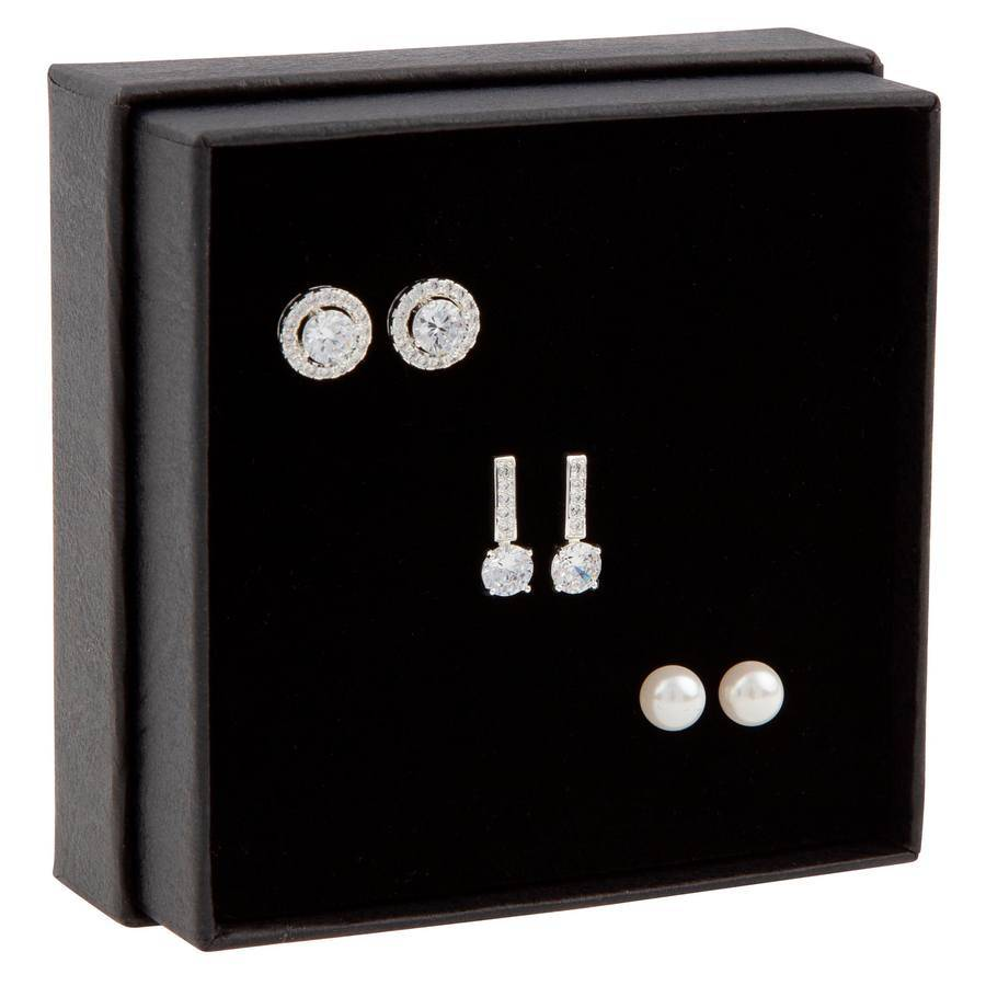 Snö of Sweden Gift Box Set Lou Earring ? Silver/Clear