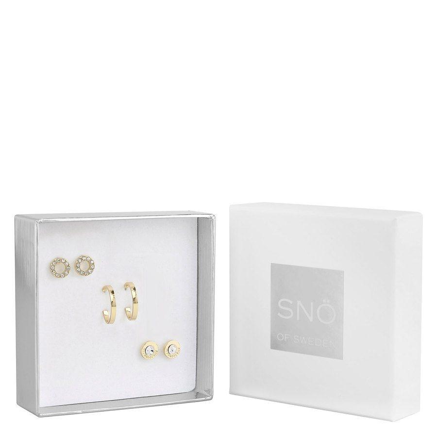 SNÖ of Sweden Crystal Royal Earring Set - Gold/Clear