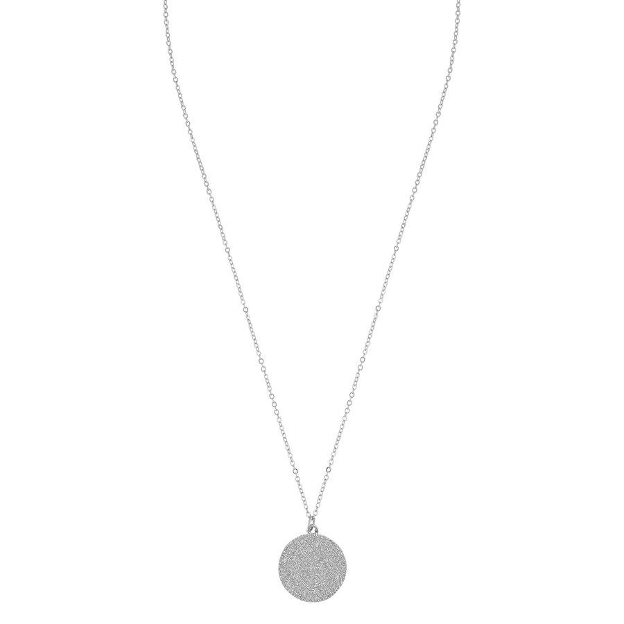 Snö of Sweden Penny Coin Pendant Necklace 42 cm – Plain Silver
