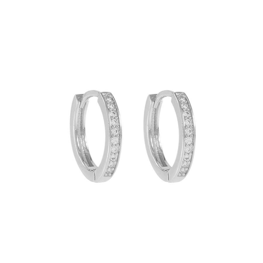 Snö Of Sweden Elaine Small Ring Earring - Silver/Clear 14 mm