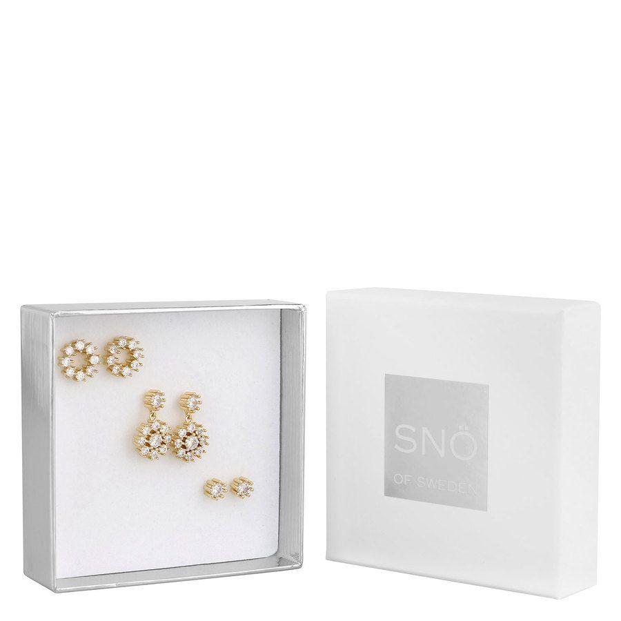 SNÖ of Sweden Crystal Vintage Earring Set - Gold/Clear