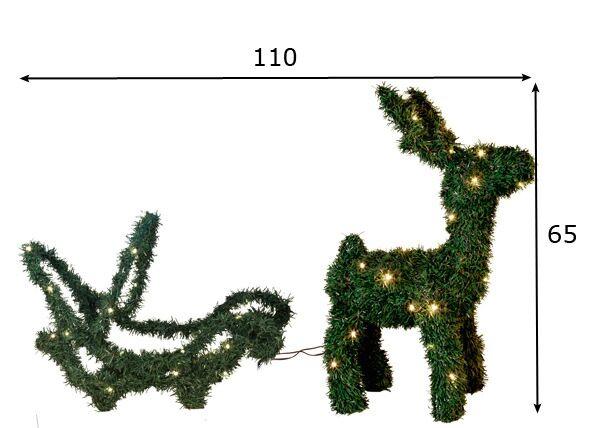 Star Trading Joulukoriste ulkotiloihin REINDEER / SLEDGE 65 cm