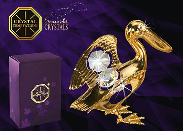 Koriste-esine Swarovski kristalleilla PELIKAANI