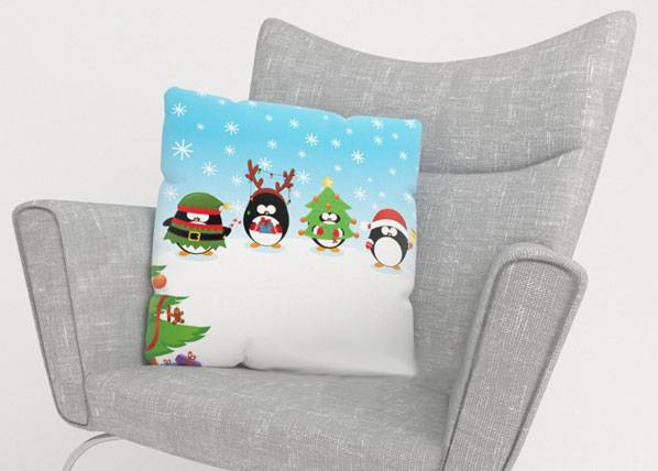 Image of Wellmira Koristetyynyliina CHRISTMAS PINGUINS 45x45 cm