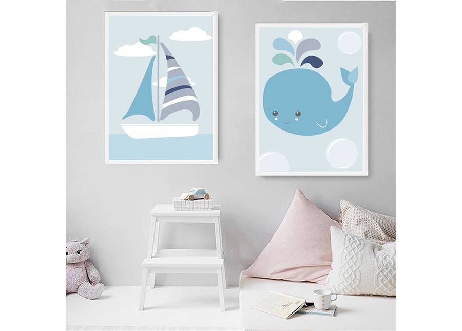 Jänku Kaksiosainen seinätaulu Elämä merellä