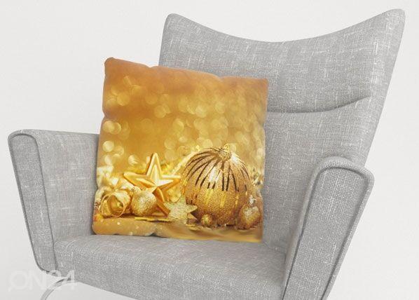 Image of Wellmira Koristetyynyliina GOLDEN CHRISTMAS TOYS 40x40 cm