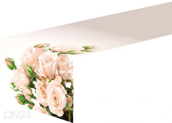Pöytäliina CREAM ROSES 40x280 cm