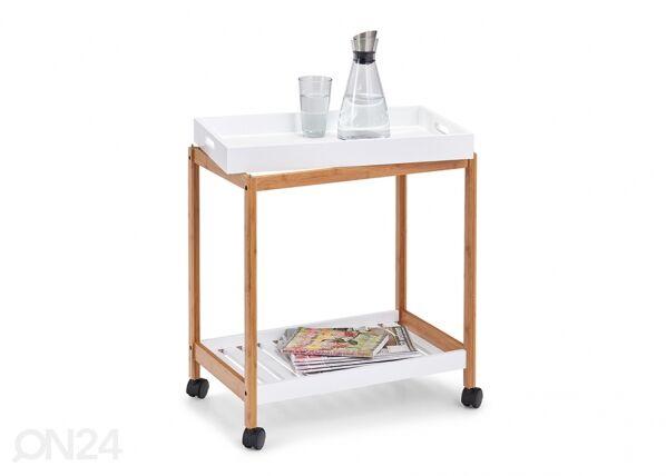 Zeller Present Pyörillä varustettu tarjoilupöytä tarjottimella