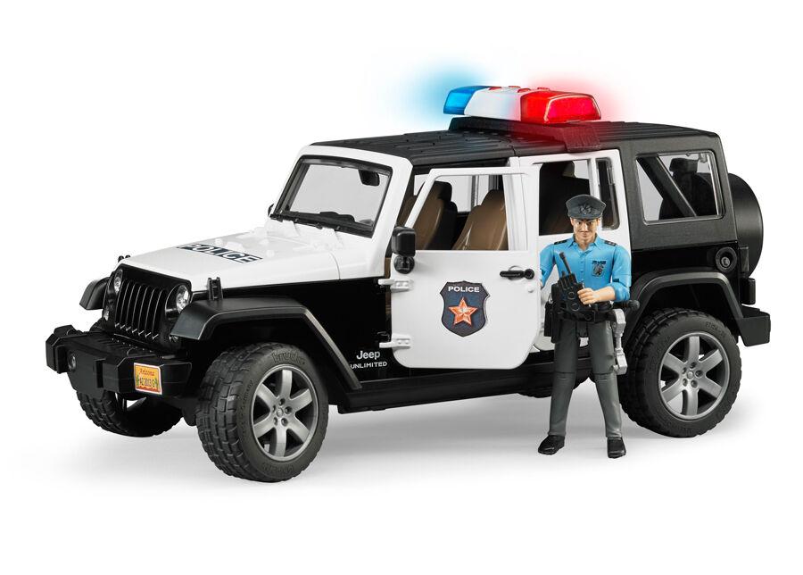 BRUDER JEEP WRANGLES poliisiauto äänellä ja valolla 1:16 BRUDER
