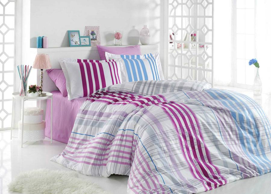 HOBBY HOME COLLECTION Pussilakanasetti STRIPE 200x220 cm