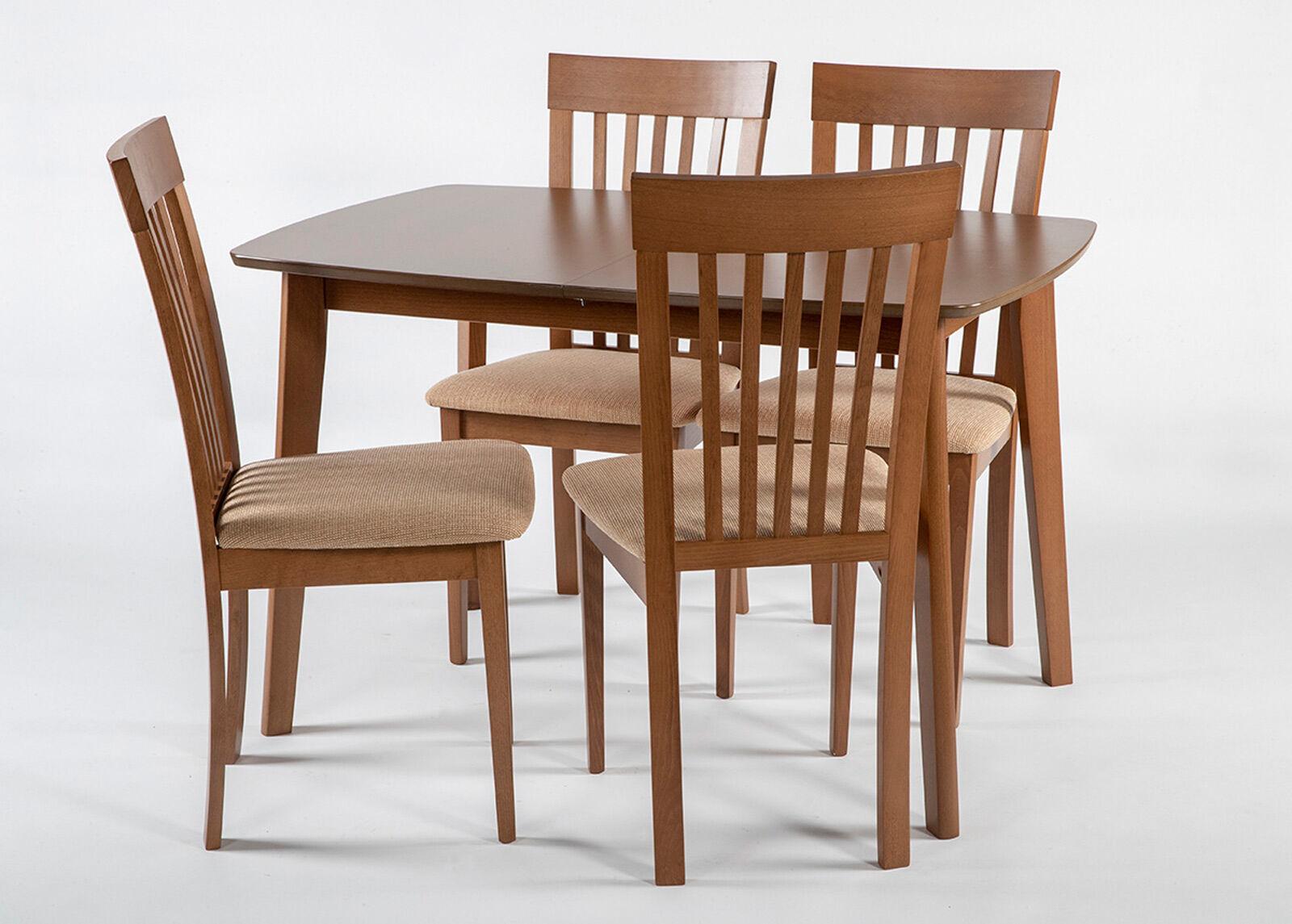 Image of Jatkettava ruokapöytä Bari 80x120-150 cm ja 4 tuolia MODENA, pähkinä