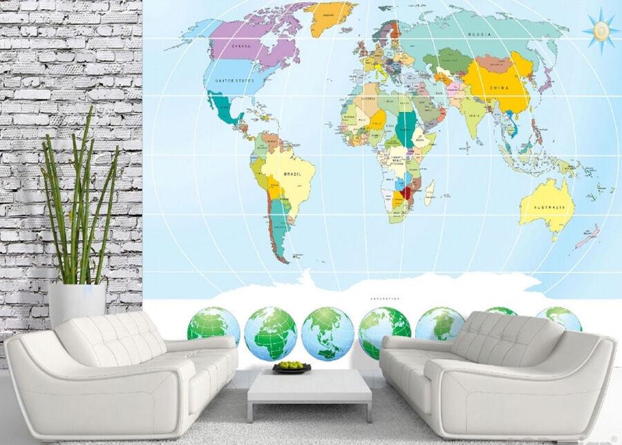 AG Design Fleece kuvatapetti World map 3 360x270cm