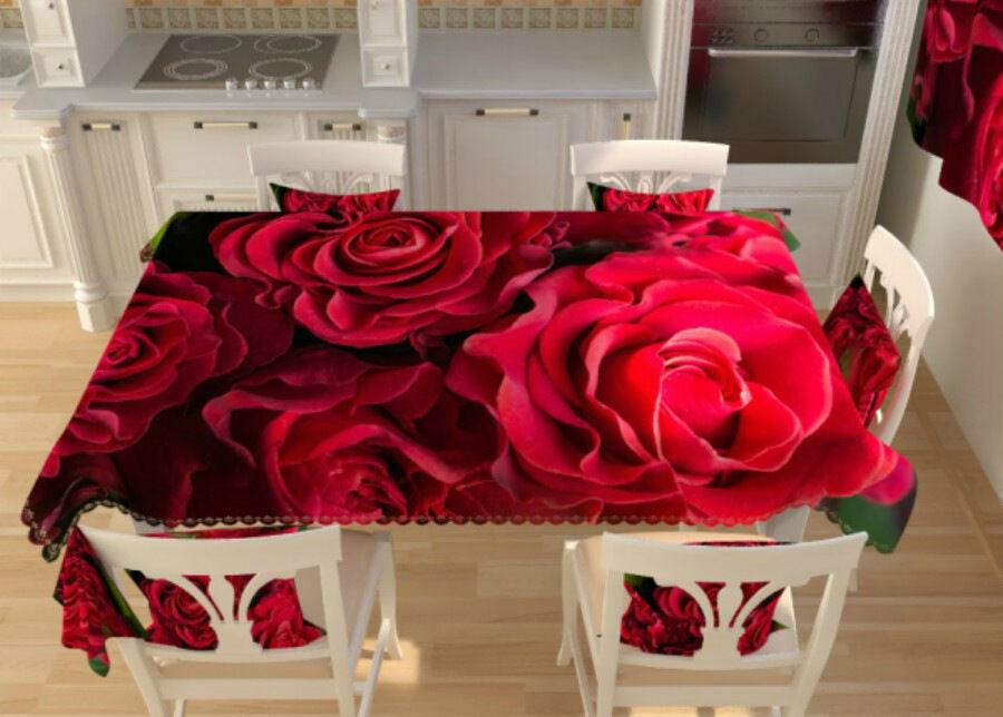 AT-Kodutekstiil Pöytälina Punaiset ruusut 145x200 cm
