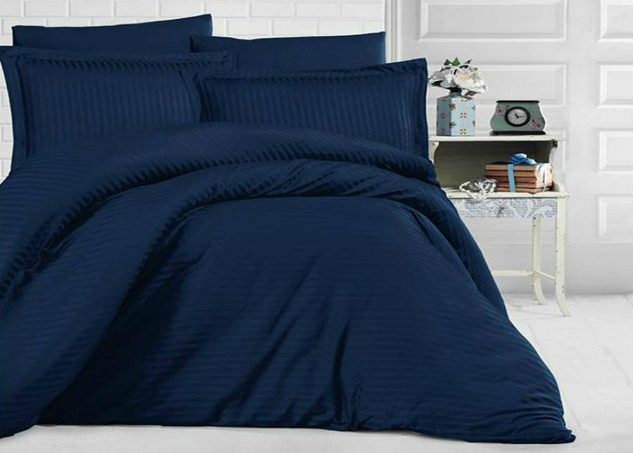 MIKA Satiini pussilakanasetti Uni Dark Blue 200x220 cm