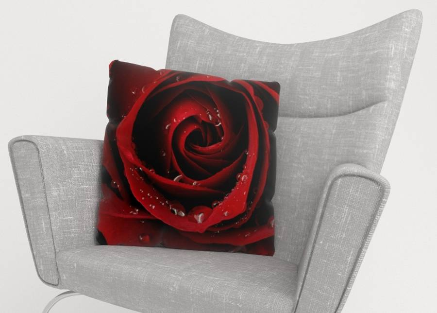 Image of Koristetyynyliina Red Rose 45x45 cm