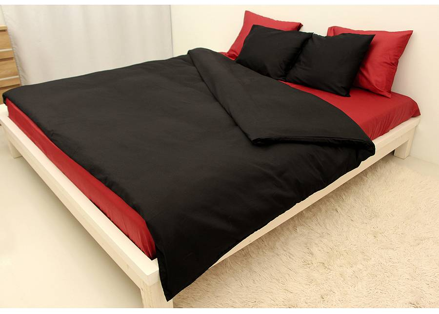 DOSSA Satiini pussilakanasetti BLACK-RED 180x210 cm