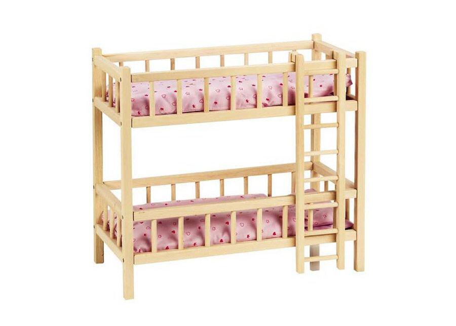 Goki Puinen nuken sänky-kerrossänky tikkailla