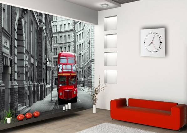 AG Design Fleece kuvatapetti LONDON BUS 360x270 cm