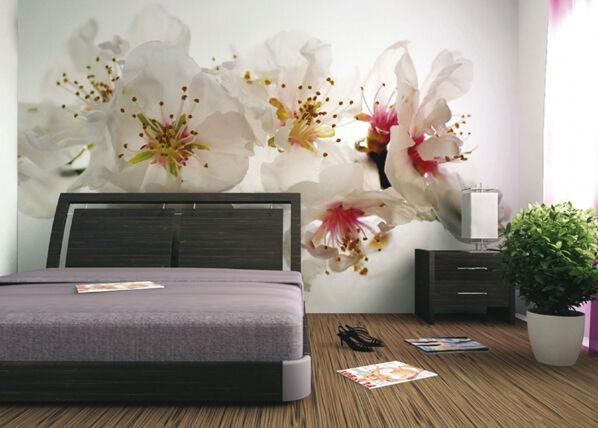 AG Design Fleece-kuvatapetti PINK FLOWERS 360x270 cm