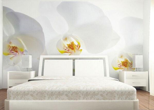 AG Design Fleece-kuvatapetti WHITE ORCHID 360x270 cm