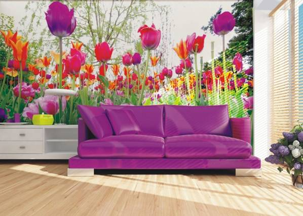 AG Design Fleece-kuvatapetti TULIPS AND PEONIES 360x270 cm