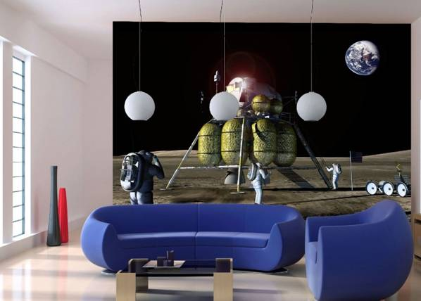 Image of AG Design Fleece-kuvatapetti MOON LANDING 360x270 cm